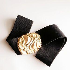 Vintage Black Stretchy Belt W/ Gold Floral Buckle